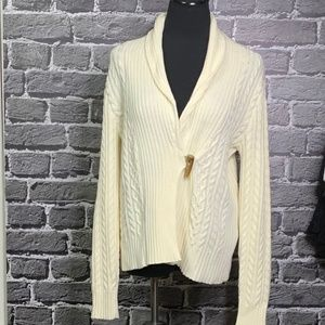 Chaps Ivory Cableknit Cardigan Toggle Closure M